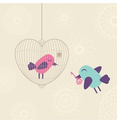 Love cage with birds vector image vector image