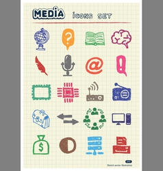 Media and business icons set vector image vector image