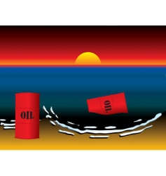 oil slick barrel sun set vector image vector image