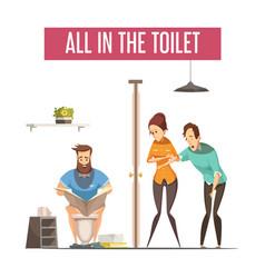 Queue at toilet design concept vector