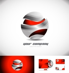 Red metallic 3d sphere logo icon design vector image vector image