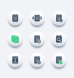 Reports document account icons vector