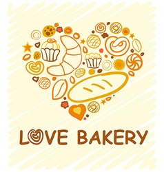Set of baking love bakery hand-drawn for your vector image vector image