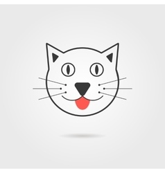 simple cat icon with shadow vector image vector image