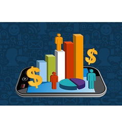Smart phone financial activity vector
