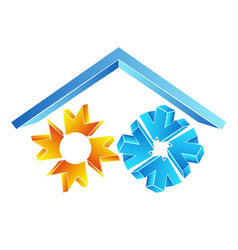sun and snowflake under the roof symbol vector image vector image