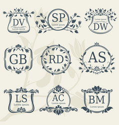 Vintage elegance wedding monograms with floral vector