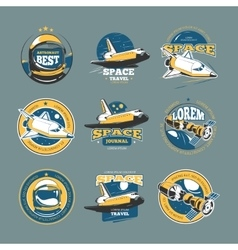Vintage space and astronaut colored badges vector