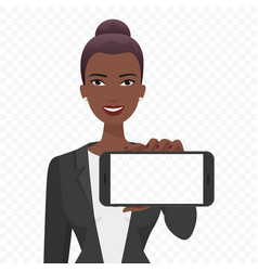 Young african businesswoman showing the empty vector