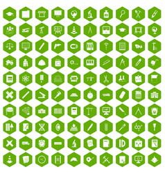 100 compass icons hexagon green vector