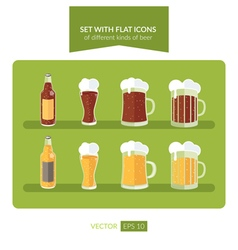 Set with flat icons of different kinds of beer vector image