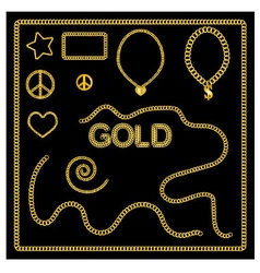 Set of golden chains gold jewelry vector