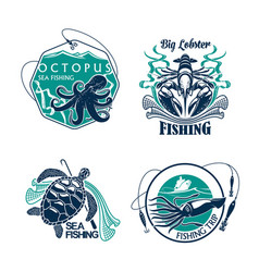 fishing sport club or trip icons set vector image