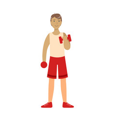 Young man exercising with dumbbells colorful vector