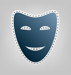 Comedy theatrical masks blue icon with vector