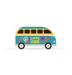 hippie bohemian blue van - love and peace vector image