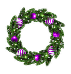 Christmas wreath with lilac balls vector