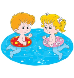 Children swim with inflatable circles vector