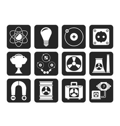 Silhouette atomic and nuclear energy icons vector