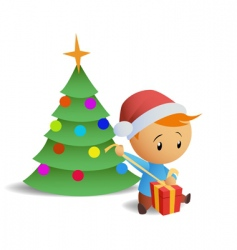 Little boy open gift box vector