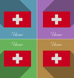 Flags switzerland set of colors flat design and vector