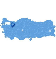 Map of turkey bilecik vector