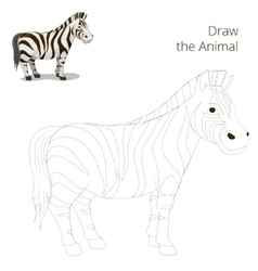 Draw the animal educational game zebra vector