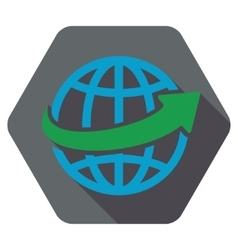 Worldwide arrow flat hexagon icon with long shadow vector
