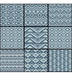 Collection of monochrome seamless knitted patterns vector