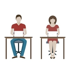 Man and woman working with laptop vector