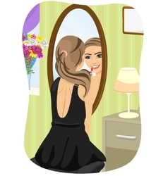 Woman applying lipstick looking at mirror vector