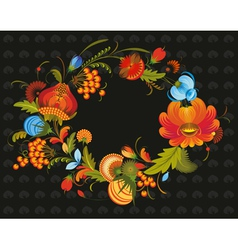 Traditional flower wreath vector