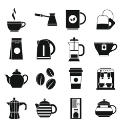 Tea and coffee icons set simple style vector