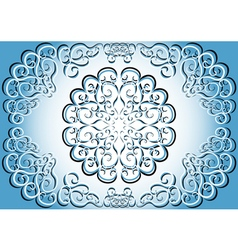 A blue circular ethnic pattern vector image