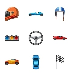 Association of racers icons set cartoon style vector image vector image
