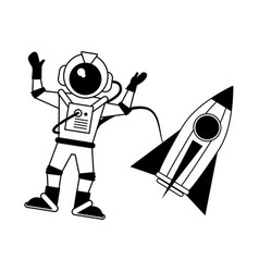 Astronaut hand up with rocket icon imag vector