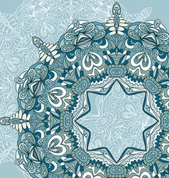 Circle lace hand-drawn ornament card Ornamental vector image