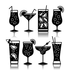 Cocktail icons Cocktail menu vector image