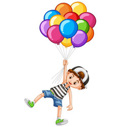 cute boy and bunch of balloons vector image vector image
