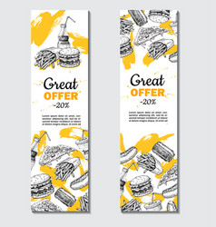 Fast food hand drawn banner hand drawn vector