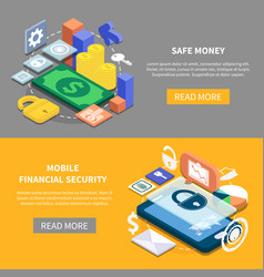 Financial security isometric banners vector