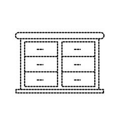 Furniture bathroom drawers cabinet wooden vector