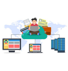 hosting online cloud with user and computers vector image vector image