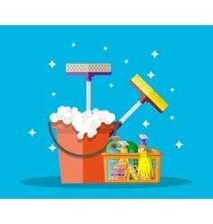 household cleaning products and accessories vector image vector image