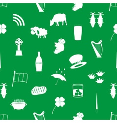 Ireland country theme icons green and white vector