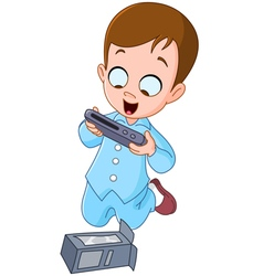 kid with christmas gift vector image