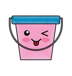 Laundry bucket kawaii character vector