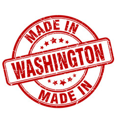Made in washington red grunge round stamp vector