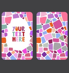 Mosaic card templates on white background vector image