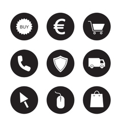 Online store black icons set vector